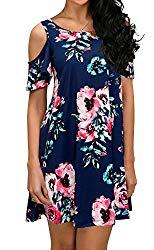 QIXING Women's Summer Basic Cotton Short Sleeve Pockets Loose Casual Floral Print Dress Navy Blue-M