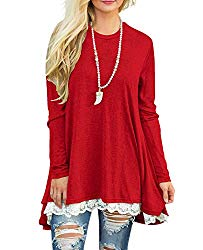 Sanifer Women Lace Long Sleeve Tunic Top Blouse (X-Large, Bright Red)