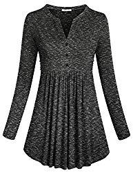 SeSe Code Flattering Tops Women's 2018 Fashion Clothing Long Sleeve V Neck Flowy Ruffled High Waist Basic Cute Tunic Wear to Work Shirt Blouse Dye Black Large