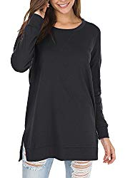 Womens Fall Long Sleeve Plus Pullover Side Split Loose Casual Tunic Tops Black M