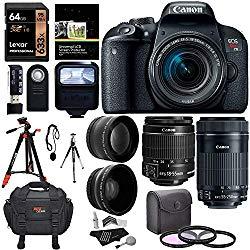 Canon EOS Rebel T7i EF-S 18-55 is STM Kit, EF 55-250mm II, 64GB Memory Card, Wide Angle, Telephone Lens, 48″ Tripod and Accessory Bundle