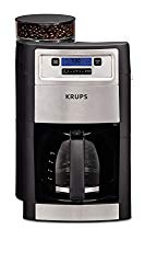 KRUPS Grind and Brew Auto-start Coffee Maker with Builtin Burr Coffee Grinder, 10 Cups, Black