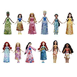 Disney Princess Royal Collection, 12 Fashion Dolls — Ariel, Aurora, Belle, Cinderella, Jasmine, Merida, Moana, Mulan, Pocahontas, Rapunzel, Snow White, Tiana, Toy For 3 Year Olds & Up
