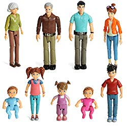 Sweet Li'l Family Set of 9 Action Figure Set- Grandpa, Grandma, Mom, Dad, Sister, Brother, Toddler, Twin Boy & Girl