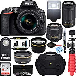 Nikon D5600 24.2MP DSLR Camera with 18-55mm VR and 70-300mm Dual Lens (Black) – (2 Lens Value Kit 18-55mm VR & 70-300mm) – (Certified Refurbished)