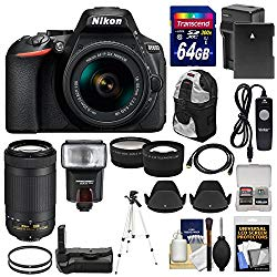 Nikon D5600 Wi-Fi Digital SLR Camera with 18-55mm VR & 70-300mm DX AF-P Lenses + 64GB Card + Case + Flash + Battery & Charger + Grip + Tripod + Kit