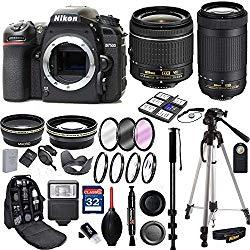 NikonD7500 DSLR Camera w/AF-P DX NIKKOR 70-300mm f/4.5-6.3G ED Lensand AF-P DX NIKKOR 18-55mm f/3.5-5.6G VR Lens + 32 GB Memory Card and Professional Accessory Bundle