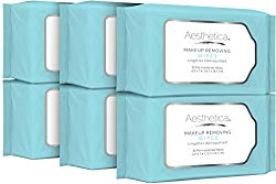 Aesthetica Makeup Removing Wipes – Facial Cleansing Towelettes – Hypoallergenic & Dermatologist Tested Make up Remover – Oil & Fragrance Free – Made in USA – 6 Pack (180 wipes total)