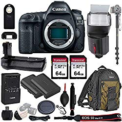Canon EOS 5D Mark IV Full Frame DSLR Camera Body – with Pro Battery Grip, TTL Flash, Canon Pro Backpack,128GB Memory, LP-E6N Replacement Battery, 72″ Monopod, RC-6 Wireless Remote, and More. 19 Item