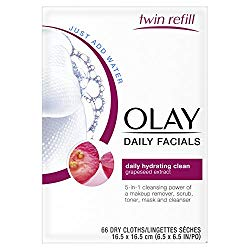 Eye Makeup Remover Wipes by Olay Daily Facials,Cleanser Cloths, 66 count Packaging May Vary