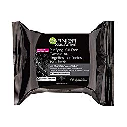 Garnier SkinActive Clean+Purifying, Oil-Free Cleansing Towelettes with Charcoal, 25 Count