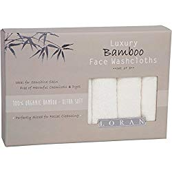 "Luxury Bamboo Facial Washcloths, Set of 6, white, 10""x10"""