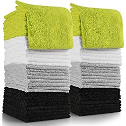 OxGord Microfiber Cleaning Cloth 64pc Pack Bulk – Duster Rag Sponge for Car Wash Auto Care Thick Large for Glasses Kitchen Dish