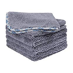 Premium Microfiber Auto Detailing Towels | All- Purpose | Clean, Buff, Wax, Polish, Dry | Ultra Soft Cloths | Satin Piped Borders | Tagless | 550 GSM | Small 16 x 16 inch- Gray (6 Pack)