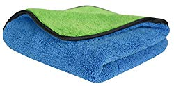 SINLAND 720gsm Ultra Thick Plush Microfiber Car Cleaning Towels Buffing Cloths Super Absorbent Drying Auto Detailing Towel (16inchx16inch, Blue/green