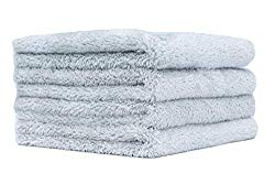 THE RAG COMPANY (4-Pack) 16 in. x 16 in. Eagle EDGELESS 500 Professional Korean 70/30 Super Plush 500gsm Microfiber Detailing Towels (16×16, Ice Grey)