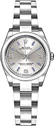 Rolex Oyster Perpetual 26 176200 Silver Dial with Blue Hour Markers Luxury Watch