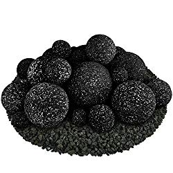 Ceramic Fire Balls   Mixed Set of 23   Modern Accessory for Indoor and Outdoor Fire Pits or Fireplaces – Brushed Concrete Look   Midnight Black, Speckled