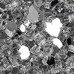 VIVID Heat Vibrant Luster 1/2″ Silver Metallic Medium – (10 Pound Bag) Reflective Titanium/Gray Style Fire Glass Rock for Fireplace and Fire Pit