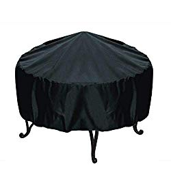 WOMACO Round Fire Pit Cover,Outdoor Waterproof Weather Resistant Patio Round Table Cover (48″ x 18″, Black)
