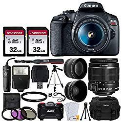 Canon EOS Rebel T7 DSLR Camera + EF-S 18-55mm f 3.5-5.6 is II Lens + 58mm 2X Professional Telephoto & 58mm Wide Angle Lens + 64GB Memory Card + DC59 Case + 60″ Tripod + Slave Flash + UV Filters