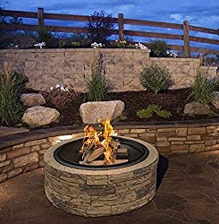 Cast Stone Wood Burning Fire Pit 35″ Diameter Steel Base By Huntington Cove w/ 26″ Mesh Screen Spark Protector w/ Lift Hook, Large Heat Resistant Fire Bowl, Appealing Medium Brown Simulated Stone Base