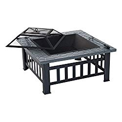 Outsunny 32″ Steel Square Outdoor Patio Wood Burning Fire Pit Table Top Set