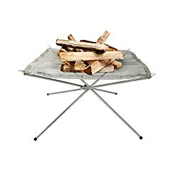 Rootless Large Portable Outdoor Fire Pit : Collapsing Steel Mesh Fireplace – Perfect for Camping, Backyard and Garden – Carrying Bag Included