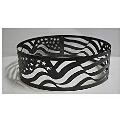 PD Metals Steel Campfire Fire Ring American Flag Design – Unpainted – Medium 38 d x 12 h Plus Free eGuide