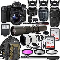Canon EOS 80D DSLR Camera with 18-55mm Lens Bundle + Canon EF 75-300mm III Lens, Canon 50mm f/1.8, 500mm Lens & 650-1300mm Lens + Canon Backpack + 64GB Memory + Monopod + Professional Bundle