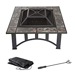 Fire Pit Set, Wood Burning Pit – Includes Screen, Cover and Log Poker – Great for Outdoor and Patio, 33 inch Square Marble Tile Firepit by Pure Garden