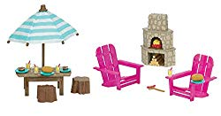 Li'l Woodzeez Animal Figurine Playset and Accessories – Patio Set & Outdoor Fireplace – 23 Pieces