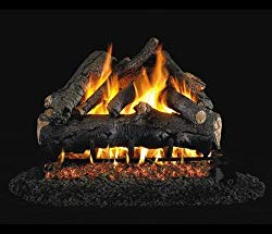 Peterson Real Fyre 18-inch American Oak Gas Log Set With Vented Natural Gas Ansi Certified G46 Burner – Variable Flame Remote