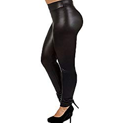 7th Element Plus Size Faux Leather Leggings Lightweight High Waisted for Womens Girls (Black, Size 1X)