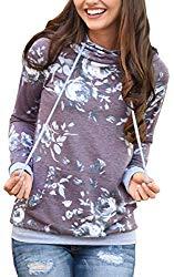 Angashion Women Hoodies-Tops- Floral Printed Long Sleeve Pocket Drawstring Sweatshirt With Pocket Purple US 10/Tag XL