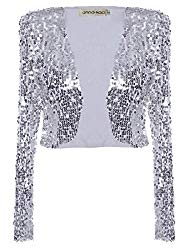 Anna-Kaci Womens Shiny Sequin Long Sleeve Glitter Cropped Blazer Bolero Shrug, Silver, X-Large