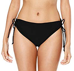 ATTRACO Women Swim Bottom Adjustable Tankini Brief Solid Black Medium