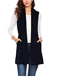 Beyove Women's Soft Sleeveless Draped Open Front Cardigan Navy Blue M