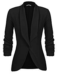 Beyove Women's Solid Stretch 3/4 Gathered Sleeve Open Blazer Jacket Black L…