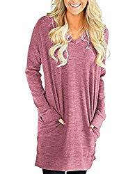 Buauty Women Long Sleeve Tunic Top Casual Blouse with Pockets Pink US 14