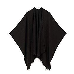 Cardigan Poncho Cape: Women Elegant Cardigan Shawl Wrap Sweater Coat for Winter (Black)