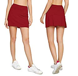 Cityoung Women's Casual Pleated Tennis Golf Skirt with Underneath Shorts Running Skorts rd m