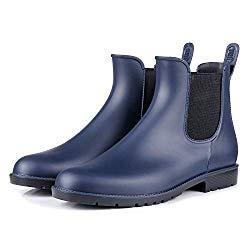 Colorxy Women's Ankle Rain Boots Fashion Elastic Chelsea Booties Anti Slip Waterproof Slip On Short Rain Booties (7.5 B US, Navy)