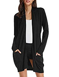 Comfortable Open Front Sweater Cardigan for Junior(XL,Black)