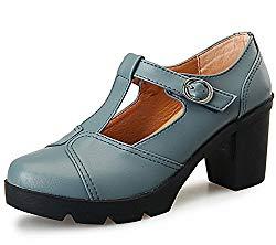 DADAWEN Women's Classic T-Strap Platform Mid-Heel Square Toe Oxfords Dress Shoes Light Gray US Size 4.5