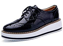 DADAWEN Women's Platform Lace-Up Wingtips Square Toe Oxfords Shoe Black US Size 7/Asia Size 39/24.5cm