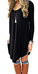 DEARCASE Women's Long Sleeve Casual Loose T-Shirt Dress Black M
