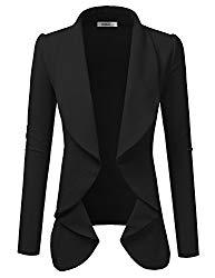 Doublju Classic Draped Open Front Blazer for Women with Plus Size Black Medium