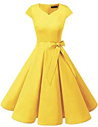 DRESSTELLS Retro 1950s Solid Color Cocktail Dresses Vintage Swing Dress with Cap-Sleeves Yelllow L