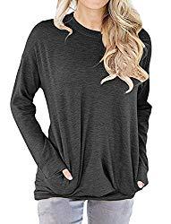 Dutebare Women Long Sleeve Round Neck Sweatshirt Loose Tunics Shirts Casual Blouses Tops With Pocket, Black Grey, M